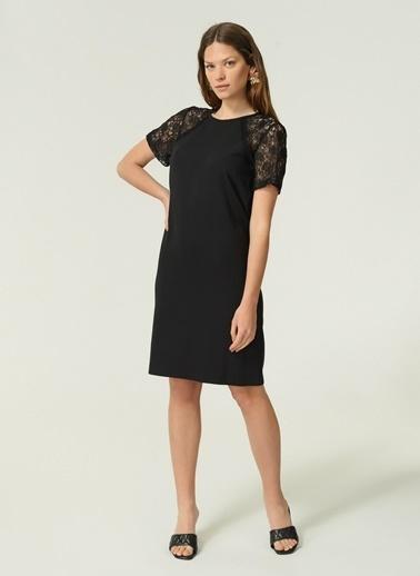 NGSTYLE Kadın Kolları Dantel Elbise NGKAW19EL0020 Siyah
